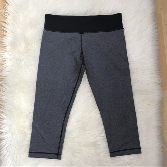lululemon athletica Pants - Lululemon striped black and white crop leggings
